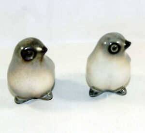 2 Porcelain  Vintage MCM Brown Speckled Bird Figurines Howard Pierce