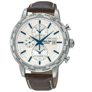Seiko-SPL051-P1-Silver-Dial-Brown-Strap-World-Time-Alarm-Men-039-s-Analog-Watch