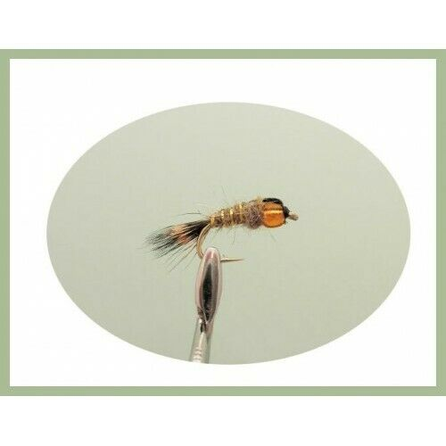 8 Orange Hothead Hares Ear Nymph Fishing Fly for Trout and Grayling Mixed 10//12