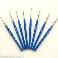Crochet hooks needles 8pcs set 0.6mm - 1.75mm.  Fine hook yarn Knitting small