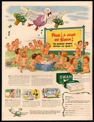 1945 SWAN Soap - Cartoon Swan Dad Dropping Soap- 20 Naked