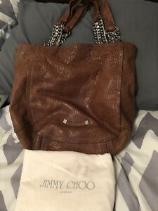 5cbf9091eb Authentic Brown Jimmy Choo Nica Large Pebbled Leather Chainlink Tote ...