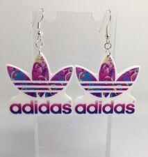 Oversized Large Sports Brand Logo Earrings  Resin Kitsch G016 Silver Hooks