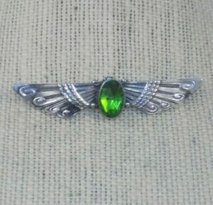 Antique-ART-DECO-Heavy-Sterling-Egyptian-Revival-Winged-Brooch-Large-Green-Stone