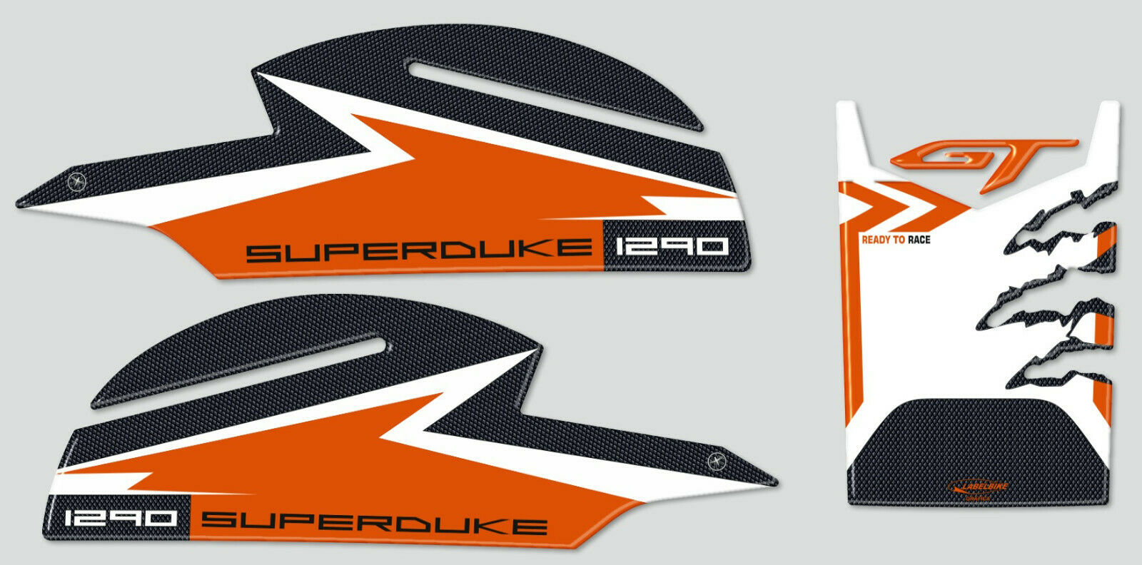 TANK PAD STICKER RESINED BLACK ORANGE FITS KTM 1290 SUPERDUKE R 2017-2019