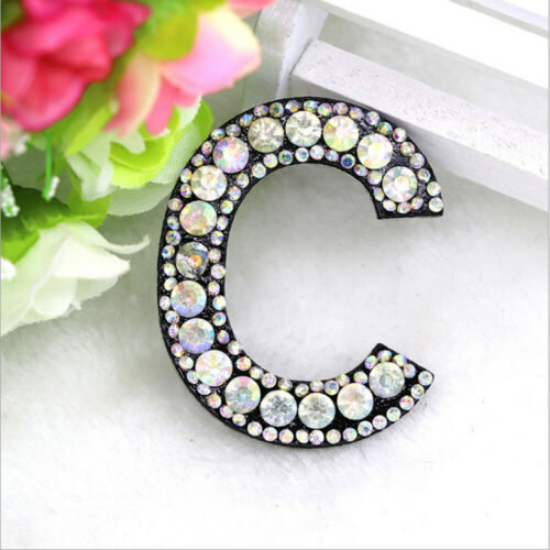 A-Z Letter Embroidery Rhinestone Patch Iron-on Patches Garment Applique DIY
