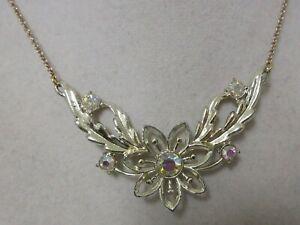 Vintage Gold Tone Aurora Borealis Rhinestone Flower Necklace