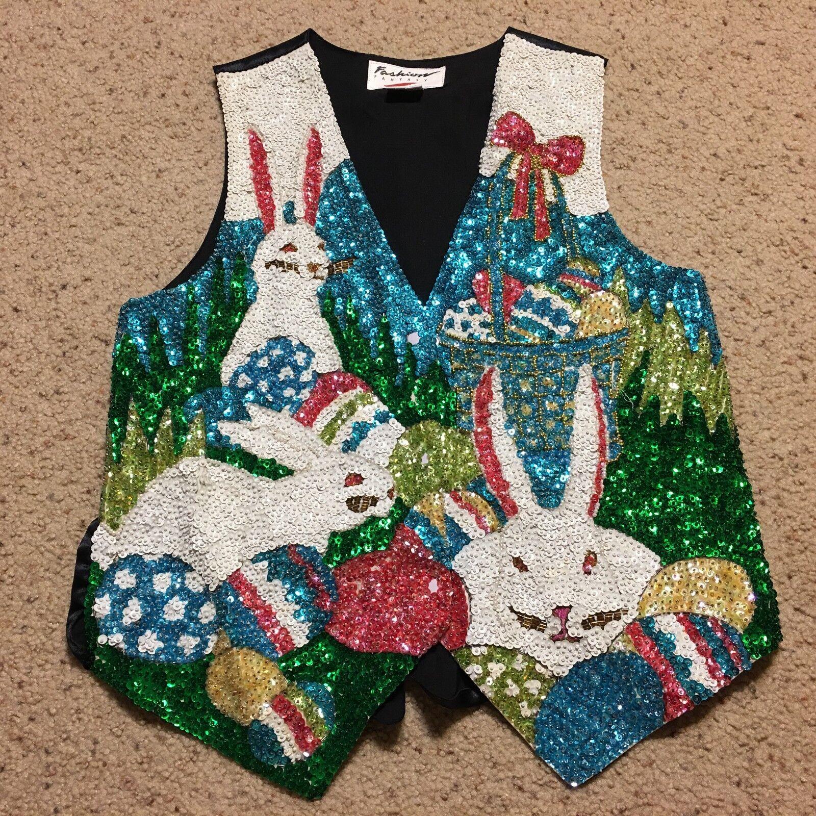 Fashion Fantasy Womens Size S Vest Easter Rabbits Eggs Sequin Vintage c