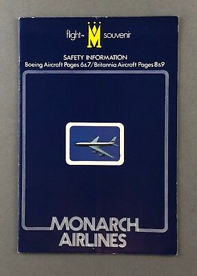 Monarch Airlines Vintage Boeing 737 Safety Card