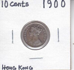 British-Hong-Kong-Ten-Cents-Coin-1900-H-KM-6-3-Silver-800-Queen-Victoria