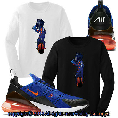 New Custom T Shirt Matching Nike Air Max 270 Blue Orange Am270 1