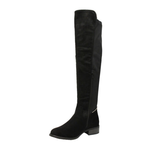 Ladies Over The Knee High Boots Women Block Heel Studded Stretch Calf Shoes Size