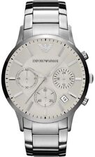 NEW EMPORIO ARMANI AR2458 MENS STEEL CHRONOGRAPH WATCH - 2 YEAR WARRANTY