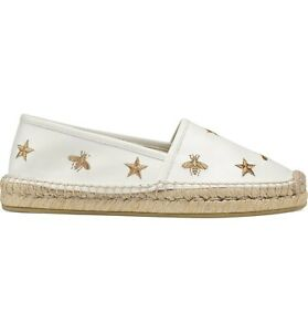 8ad2b3d75b0 Gucci Pilar White Bee Star Gold GG Slide Loafer Mule Slipper ...