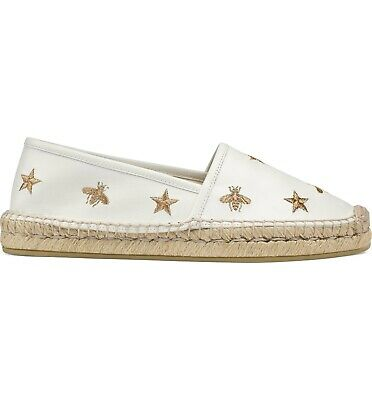 7e1738b1d Details about Gucci Pilar White Bee Star Gold GG Slide Loafer Mule Slipper  Espadrille Flat 40