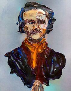 Abstract Portrait Edgar Allen Poe Poet Raven Painting Knife Fine Wall Art Print