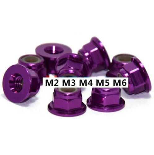 Purple Aluminum Alloy M2 M3 M4 M5 M6 Flanged Nyloc Nylon Insert Locking Nuts