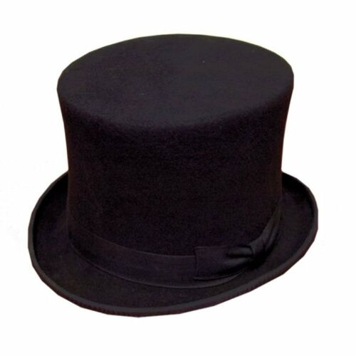 New Mens Gents Superb 100/% Wool Formal Black Felt Top Hat With Bow Band