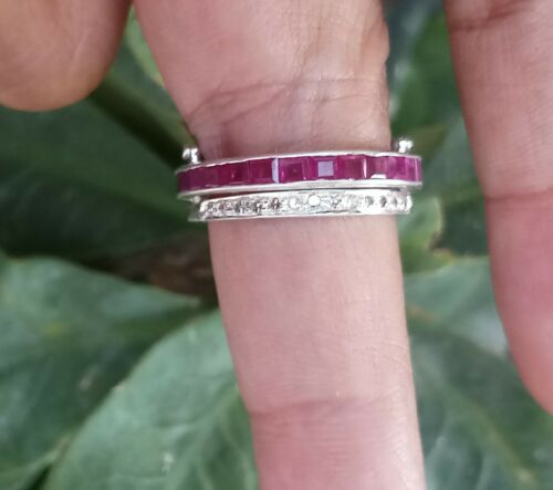 Details about  /Natural Diamond Ruby Band Handmade Dainty Ring 925 Sterling Silver Women Jewelry