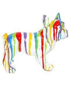 Statue-chien-bouledogue-Francais-multicolore-fond-blanc-en-resine-Remi-27-cm