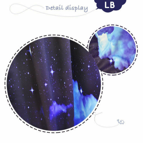 Wolf Night Sky Moon Stars Photo Print Window 3D Curtain Blockout Drapes Fabric