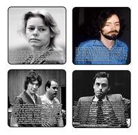 Serial Killers 01 Coaster & Holder Set Of 4 - Gloss Hardboard Free Stand