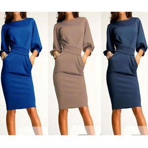 Elegant-Women-Office-Formal-Business-Work-Party-Sheath-Tunic-Pencil-Dress-USNJ