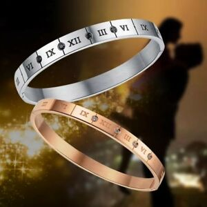 Couples-Stainless-Steel-Classic-Roman-Numerals-Numbers-Cuff-Bangles-UK