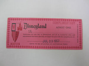 Details about Vintage Disneyland Complimentary Admit One Admission Ticket  1957 RARE!