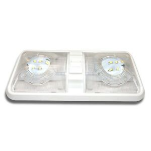 1 NEW RV LED 12v CEILING FIXTURE DOUBLE DOME LIGHT FOR CAMPER TRAILER RV MARINE