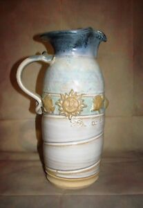 Large-Pitcher-Vase-Art-Pottery-Signed-by-Steve-Burrow-13-034-Tall
