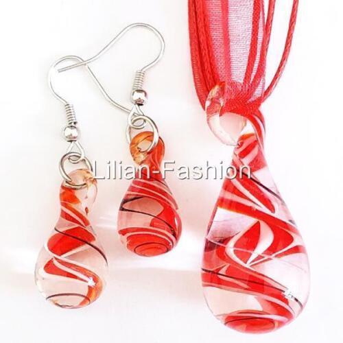 Red White Drop Swirl Lampwork Verre Murano Perle Collier Pendentif Boucles d/'oreilles Set