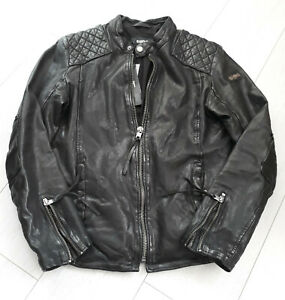 GrS Black Tigha Sheep Lederjacke Nero Leather Herren Biker 1JclFKT