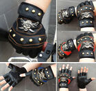 Sport Racing Cycling Bike Bicycle Sport Gloves Gel Half Fingers PU Leather Skull