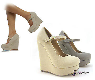 NEW Womens Fashion Shoes Round Toe Platform Mary Jane Wedge Midsole Canvas SEXY