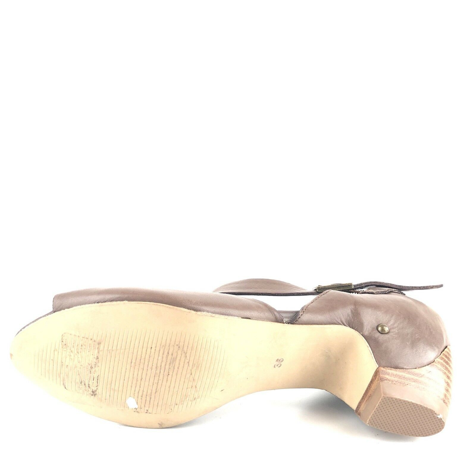 Everybody Everybody Everybody By Bz Moda Marronee Leather Ankle Strap Sandals Donna  Dimensione 36 M  f52573