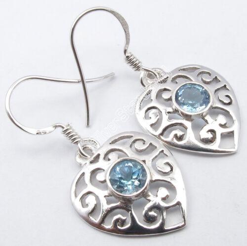 ".925 Silver Fiery Round BLUE TOPAZ BESTSELLER CELTIC Earrings 1.3/"" DESIGNER"