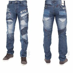MENS NEW ETO EM450 STRAIGHT LEG BLUE JEANS LATEST FUNKY GRAPHIC ...