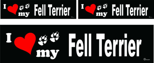 3 I love my Fell Terrier dog bumper vinyl stickers decals 1 large 2 small