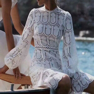modello Designer 2019 Ispirato Bianco Dress Ananas Womens Crochet Luxury qx66wXT7