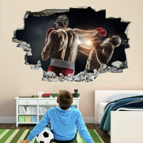 Boxing Boxer Training 3D Wall Art Sticker Mural Decal Poster Kids Room Decor BH4