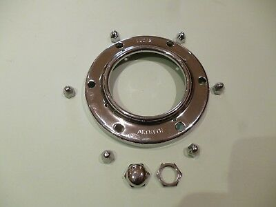 GENUINE LUCAS ALTETTE HORN CHROME BEZEL RIM & NUTS SET BSA TRIUMPH NORTON AJS