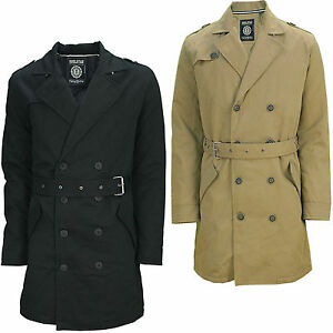 Soul Star Mens Double Breasted Mac Trench Coat Military Jacket Tan ...