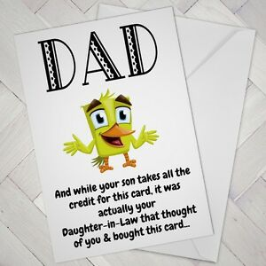 Image Is Loading Funny Birthday CARD Cheeky DAD Daughter In Law