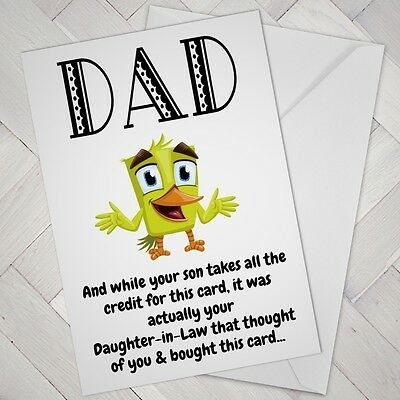 Funny Birthday CARD Cheeky DAD Daughter In Law Father FATHERS Day