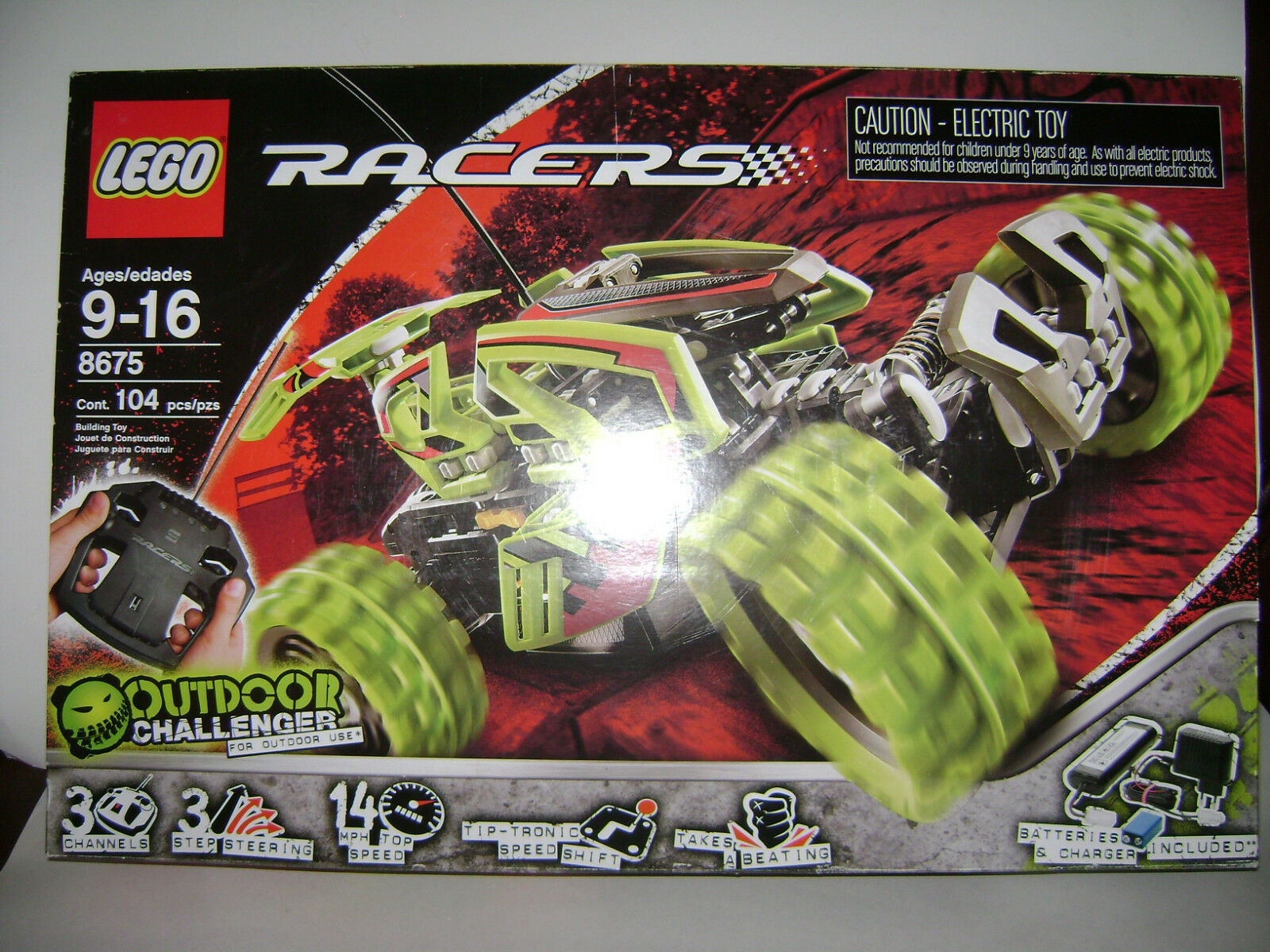 NEW 8675 RACERS OUTDOOR LEGO RC CHALLENGER Building Toy SEALED BOX RETIrosso A