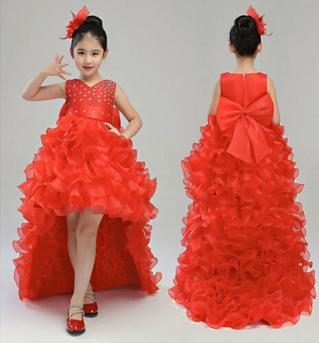 Childrens Girls Rhinestone Beaded Elegant Ruffled Ball Gown Dress Long-Train ZG9