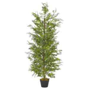 vidaXL-Artificial-Plant-Cypress-Tree-with-Pot-Green-150cm-Realistic-Greenery
