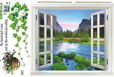 Large adhesive texture mountain trees river Wall decal sticker 3D window View