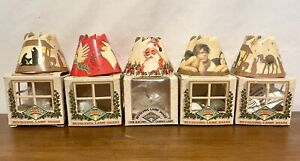 Lot-of-5-Christmas-Spin-Shades-Revolving-Tree-Lamp-Shades-1994-Santa-Jesus-Angel